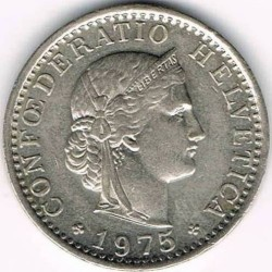 Coin > 20rappen, 1975 - Switzerland  - obverse