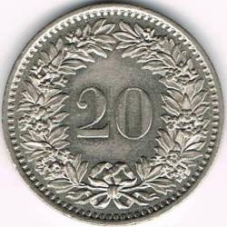 Moneda > 20céntimos, 1939-2019 - Suiza  - reverse
