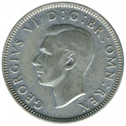Coin > 1 shilling, 1942 - United Kingdom  (English crest, lion standing atop the crown) - obverse
