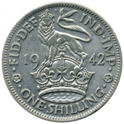 Coin > 1 shilling, 1942 - United Kingdom  (English crest, lion standing atop the crown) - reverse