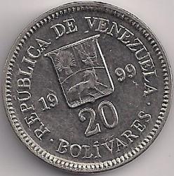 Moneda > 20bolívares, 1999 - Venezuela  - reverse