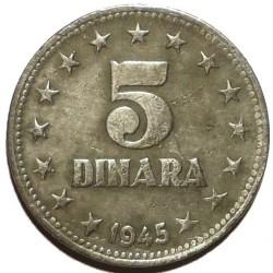 Moneta > 5dinarów, 1945 - Jugosławia  - reverse