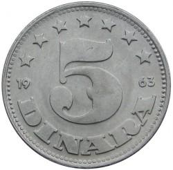 Mynt > 5dinarer, 1963 - Jugoslavia  - reverse