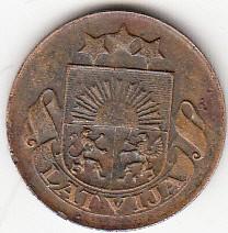 מטבע > 1סנטים, 1922-1935 - לטביה  - obverse