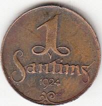 מטבע > 1סנטים, 1922-1935 - לטביה  - reverse