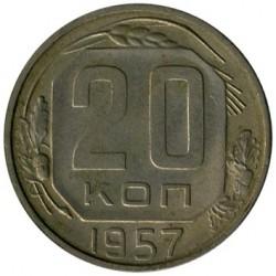 Moeda > 20kopeks, 1957 - União Soviética  - reverse