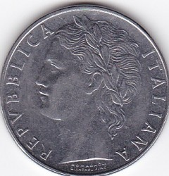 Coin > 100lire, 1975 - Italy  - obverse