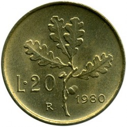 Moneta > 20lirów, 1968-2001 - Włochy  - reverse