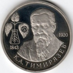 Münze > 1 Rubel, 1993 - Russland  (150th Anniversary - Birth of Kliment Timiryazev) - obverse