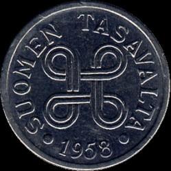 Münze > 5Mark, 1958 - Finnland  - obverse