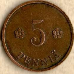Münze > 5Penny, 1938 - Finnland  - reverse