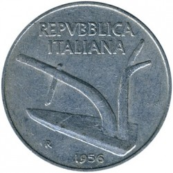 Coin > 10lire, 1956 - Italy  - reverse