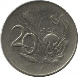 """Moneta > 20centów, 1965-1969 - Afryka Południowa  (Legenda po angielsku - """"SOUTH AFRICA"""") - reverse"""