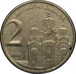 Moneda > 2dinares, 2000-2002 - Yugoslavia  - reverse