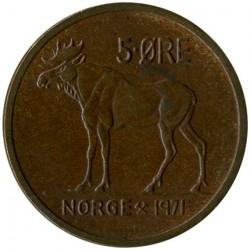 Mynt > 5ore, 1971 - Norge  - reverse