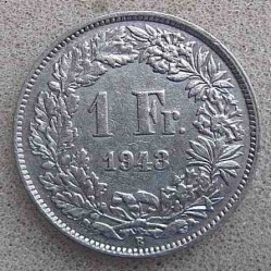 Coin > 1 franc, 1943 - Switzerland  - reverse