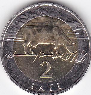 LATVIA 2 LATI 2009 UNC BIMETALLIC