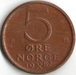 Munt > 5ore, 1973-1982 - Noorwegen  - reverse