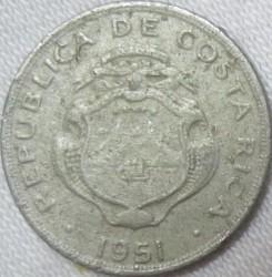 """Moneta > 5sentimai, 1951 - Kosta Rika  (Užrašas """"B.C.C.R."""" žemiau vainiko) - obverse"""