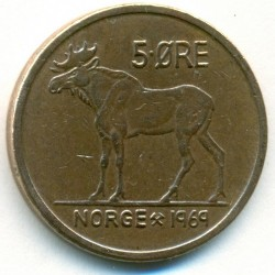 Mynt > 5ore, 1969 - Norge  - reverse