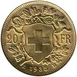 錢幣 > 20法郎, 1897-1949 - 瑞士  - reverse