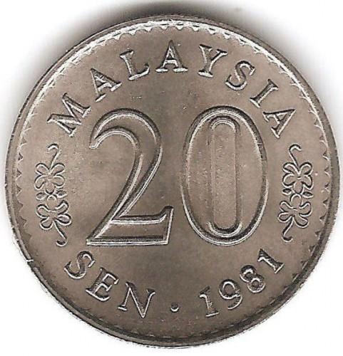 malaysia 20 sen coin value 1981