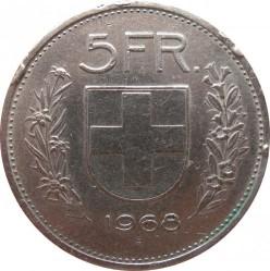 Coin > 5francs, 1968 - Switzerland  - reverse