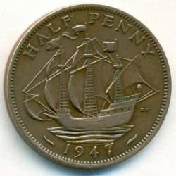 Монета > ½пенни, 1937-1948 - Великобритания  - reverse