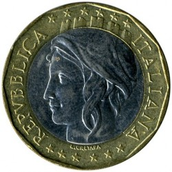 Coin > 1000 lire, 1998 - Italy  (European Union, corrected map with united Germany) - obverse