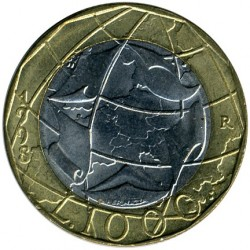 Coin > 1000 lire, 1998 - Italy  (European Union, corrected map with united Germany) - reverse
