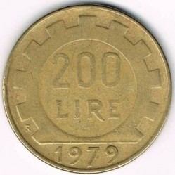 Coin > 200 lire, 1979 - Italy  - reverse