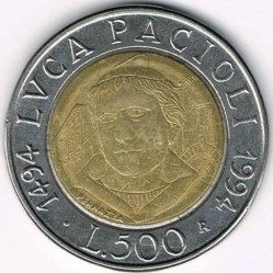 Coin > 500 lire, 1994 - Italy  (500th Anniversary - Birth of Luca Pacioli) - reverse