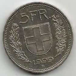 Moneta > 5franków, 1999 - Szwajcaria  - reverse