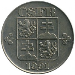 Moneda > 2coronas, 1991-1992 - Checoslovaquia  - reverse