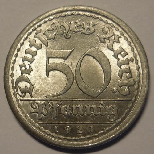 50 pfennig 1921 цена царские монеты стоимость каталог 2017 года