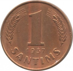 מטבע > 1סנטים, 1937-1939 - לטביה  - reverse