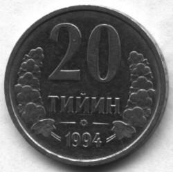 Pièce > 20tiyin, 1994 - Ouzbékistan  (Dots around obverse) - reverse