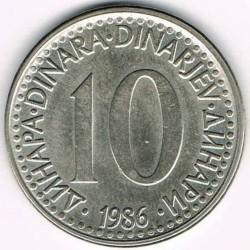 Moneda > 10dinares, 1982-1988 - Yugoslavia  - reverse