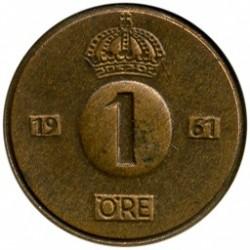 Pièce > 1ore, 1952-1971 - Suède  - reverse