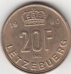 錢幣 > 20法郎, 1990-1995 - 盧森堡  - reverse