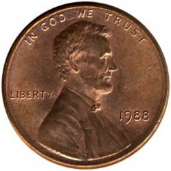 Coin > 1 cent, 1988 - USA  - obverse