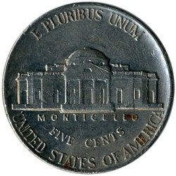 Moneda > 5 centavos, 1946-2003 - Estados Unidos  (Jefferson Nickel) - reverse