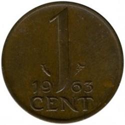 Moneta > 1centesimo, 1963 - Paesi Bassi  - reverse