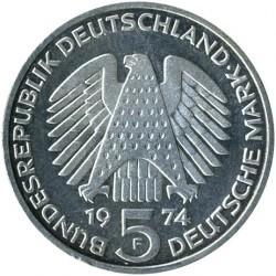 Монета > 5марок, 1974 - Германия  (25 лет со дня принятия конституции ФРГ) - obverse