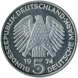 Монета > 5марок, 1974 - Германия  (25 лет со дня принятия конституции ФРГ) - reverse