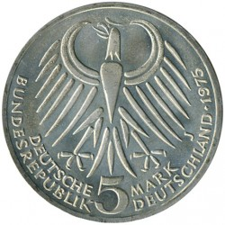 Moneda > 5marcos, 1975 - Alemania  (50º Aniversario - Muerte de Friedrich Ebert) - reverse