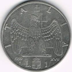 Moneta > 1lira, 1939-1940 - Italija  - reverse