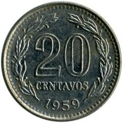 Coin > 20centavos, 1957-1961 - Argentina  - reverse