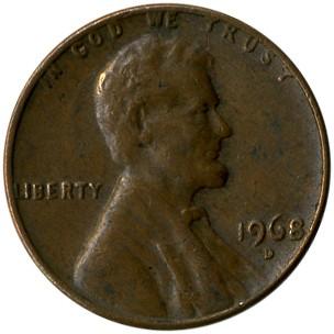 UNITED  STATES   1 Cent   1968  S   UNC  *