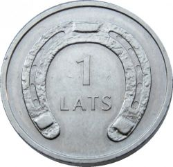 Moneta > 1lats, 2010 - Lettonia  (Horseshoe (ends pointing downwards)) - reverse
